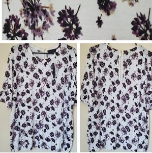 XL Floral blouse white purple shirt 14 16 black xl